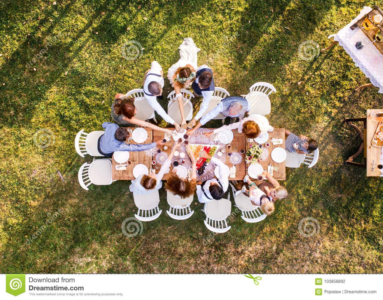 Wedding Reception Outside In The Backyard Stock Photo Image Of