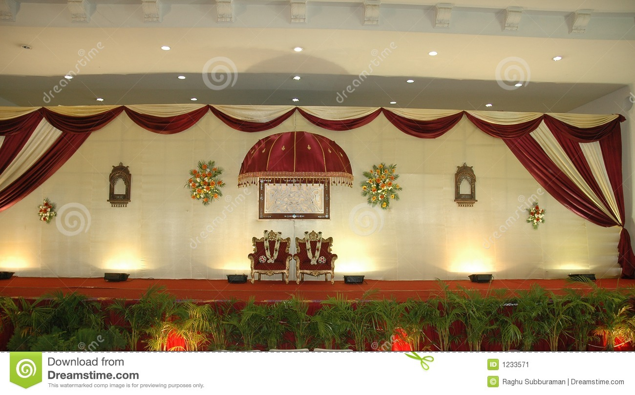 Wedding and reception stage stock image image 1233571 for Background decoration for indian wedding