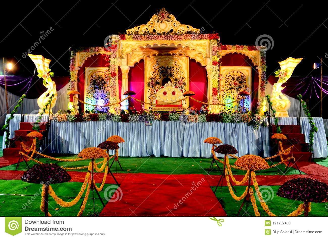 Wedding Reception Stage Decoration With Golden Chair Stock Image