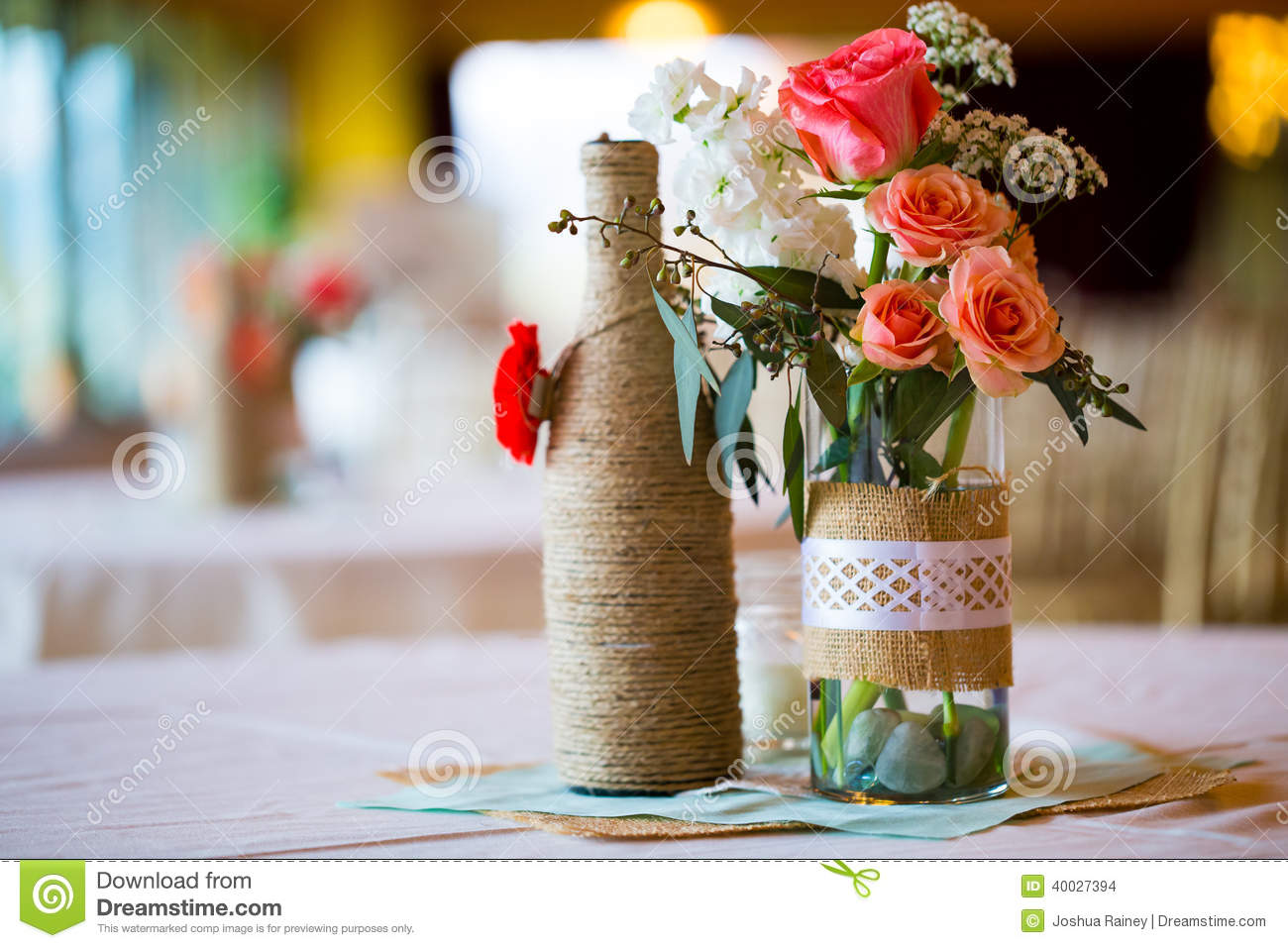 Wedding Reception Table Centerpieces Stock Photo Image 40027409