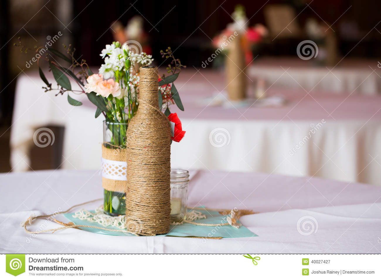wedding reception table centerpieces stock image image 40027427. Black Bedroom Furniture Sets. Home Design Ideas