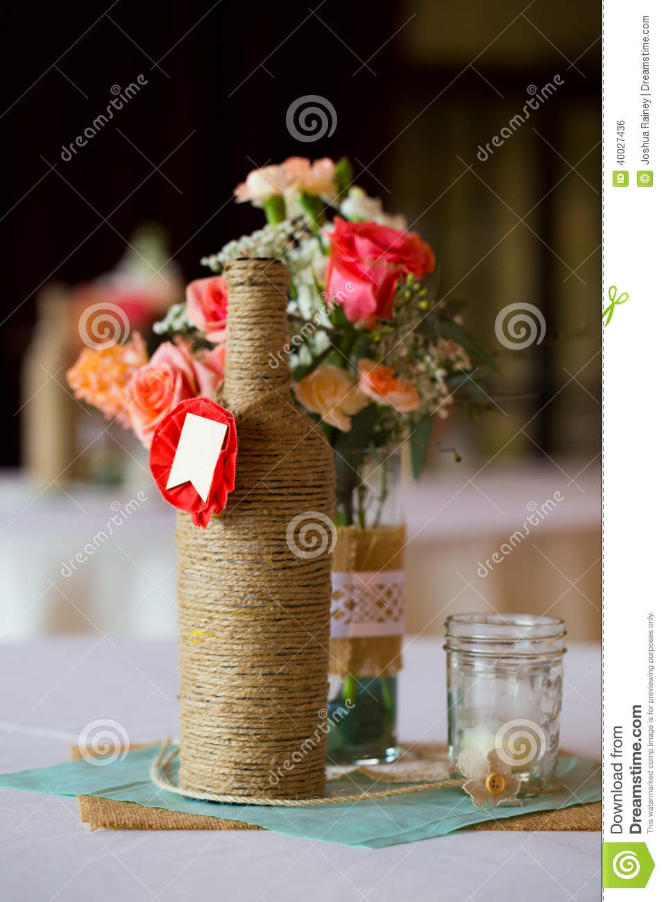 Wedding Reception Table Centerpieces Stock Photo Image