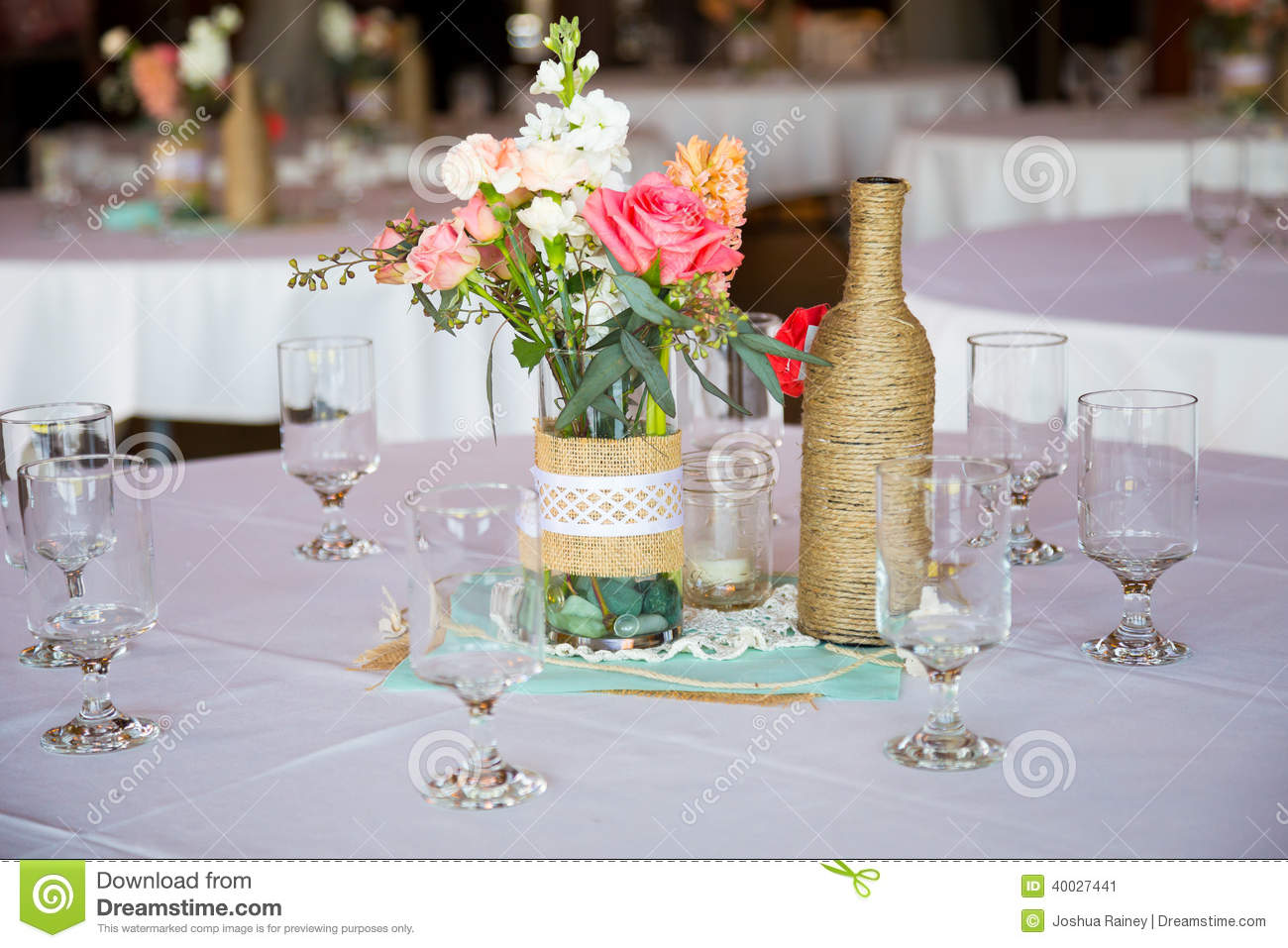 Wedding reception table centerpieces stock photo image for Diy wedding table decorations