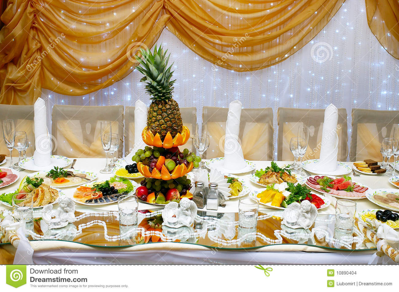 wedding reception table with food