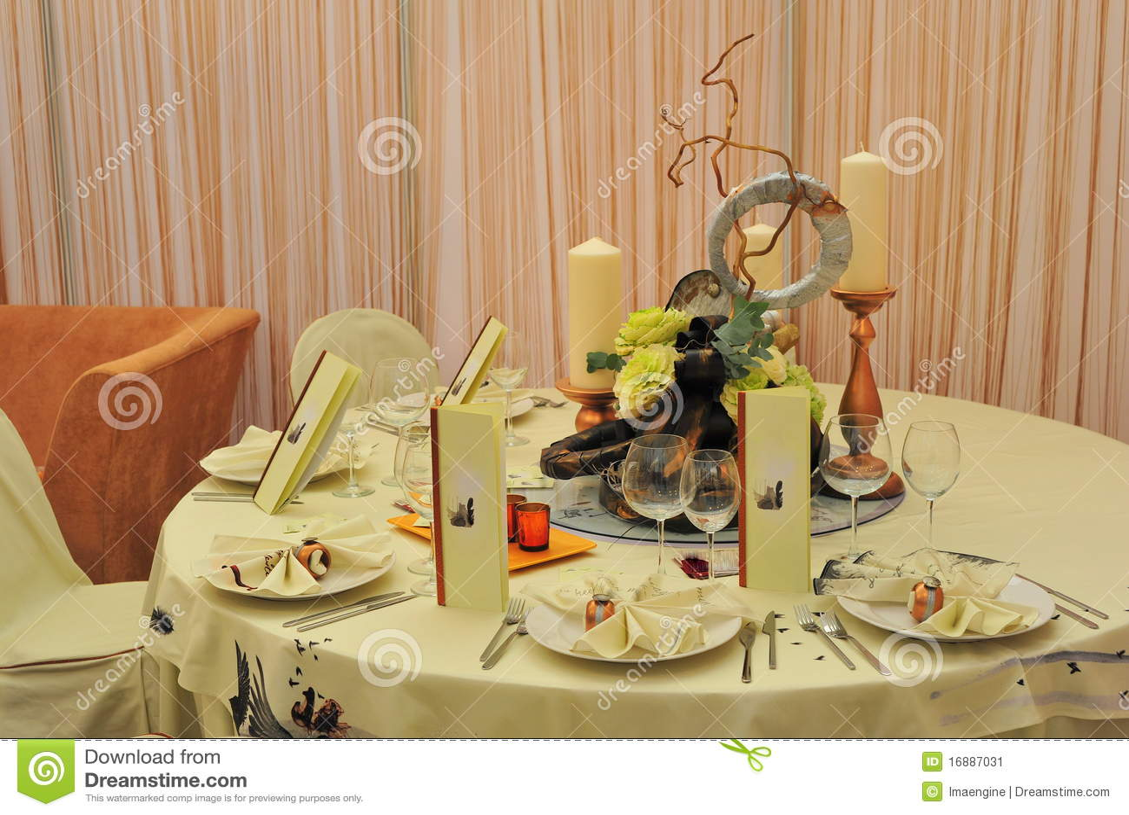 Wedding Reception Table Setting Stock Image