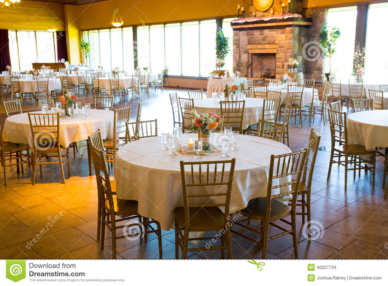 Indoor Wedding Venue Royalty Free Stock Photo: Wedding Reception Tables And Seating Stock Photo