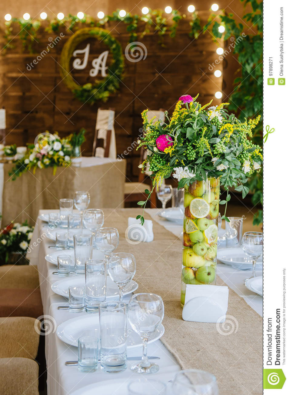 Wedding Reception In Wooden Style Stock Image Image Of Arrangement