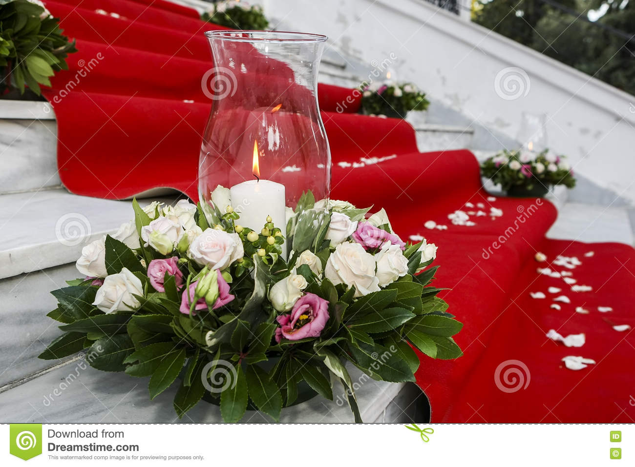Wedding Red Carpet With White Candles In Church Stairs Stock Photo
