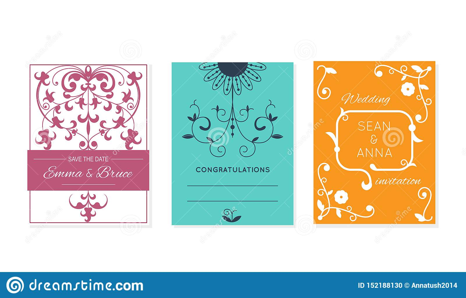Wedding Retro Invitation Card Vector Save The Date Suite