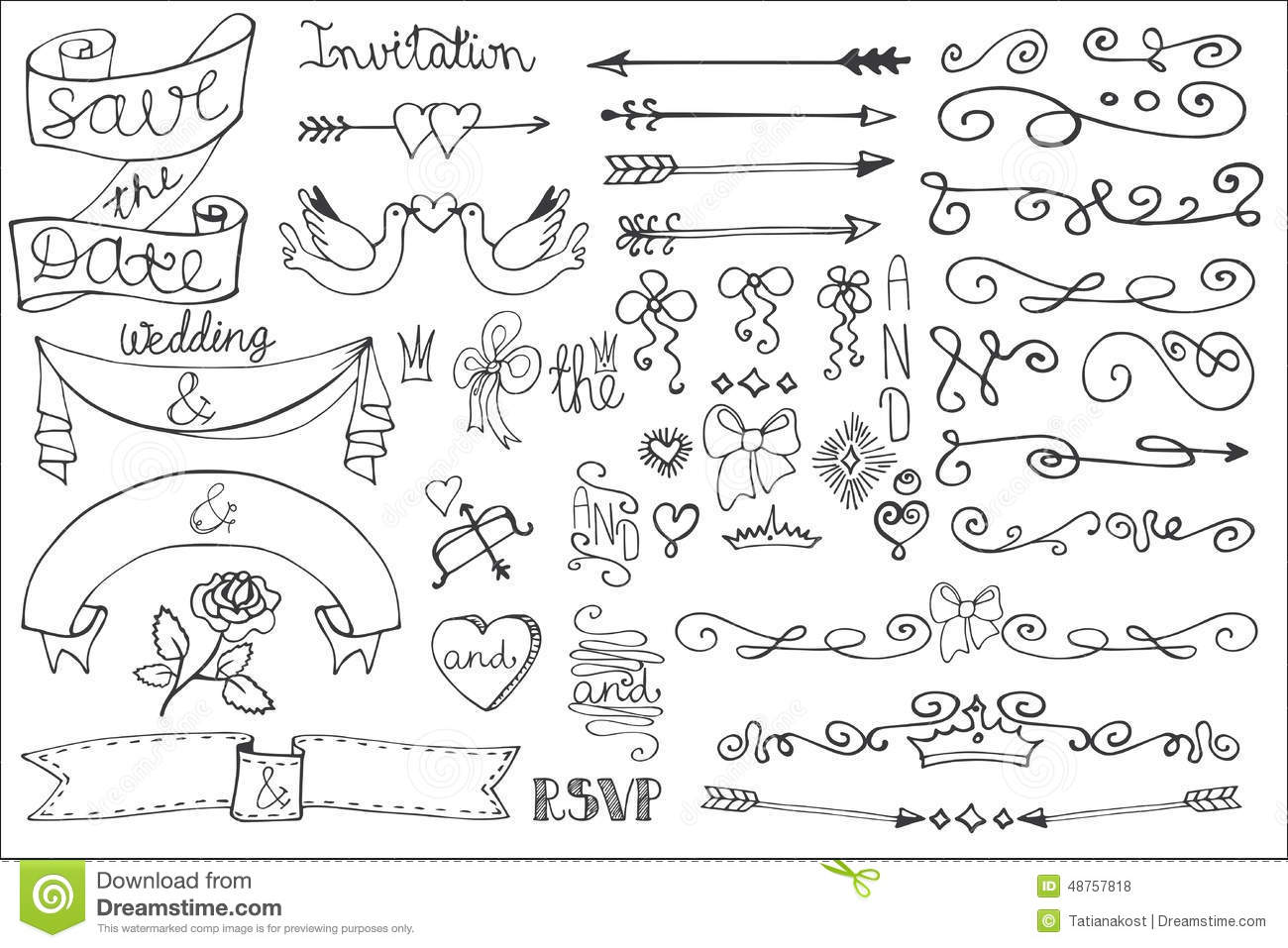 Wedding Ribbons, Swirl Borders,decor Set.Doodle Stock Vector - Image ...