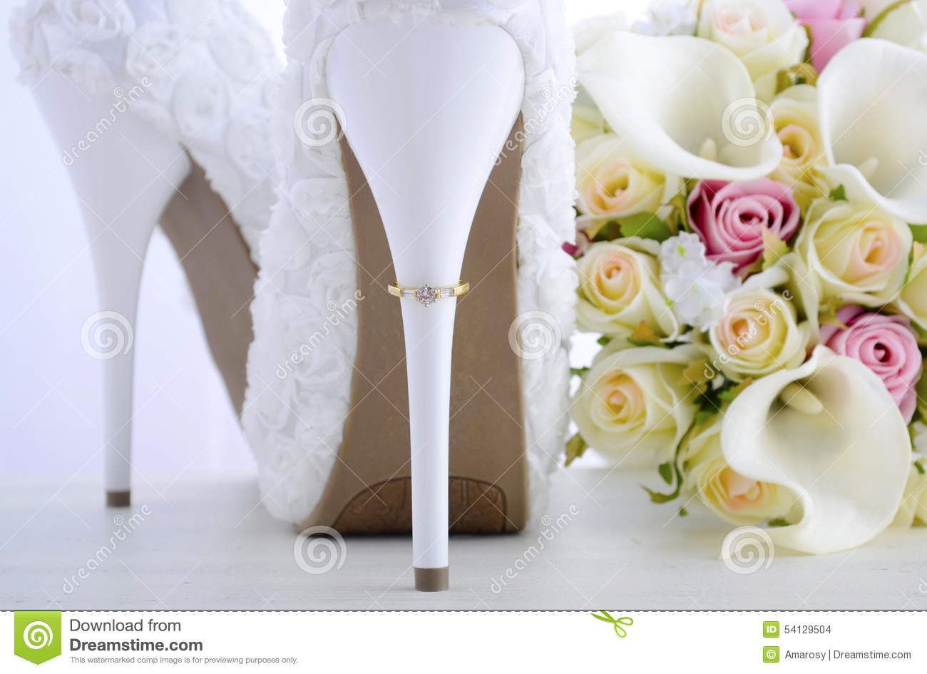 wedding ring beautiful white stiletto shoe heel day concept rings floral bridal shoes bouquet shabby chic wood 54129504