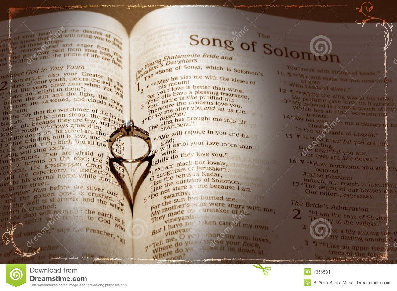 Wedding ring and bible stock image image 1356531 for Wedding ring meaning bible