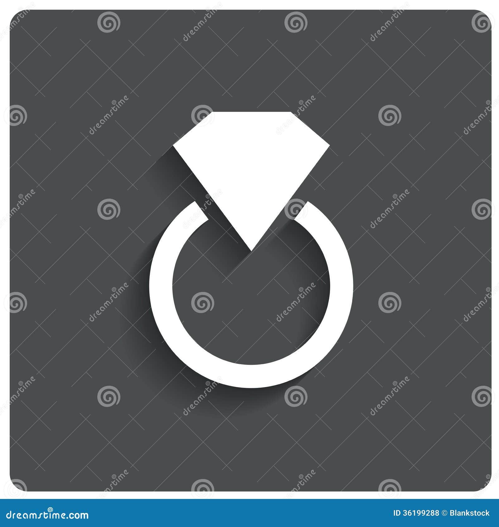 Wedding Ring With Diamond Jewelry Icon Love Stock