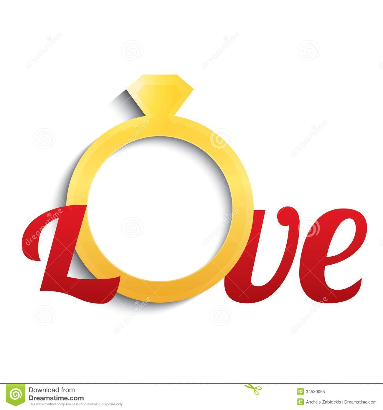 Wedding Ring With Diamond Love With Gold Ring Stock Vector