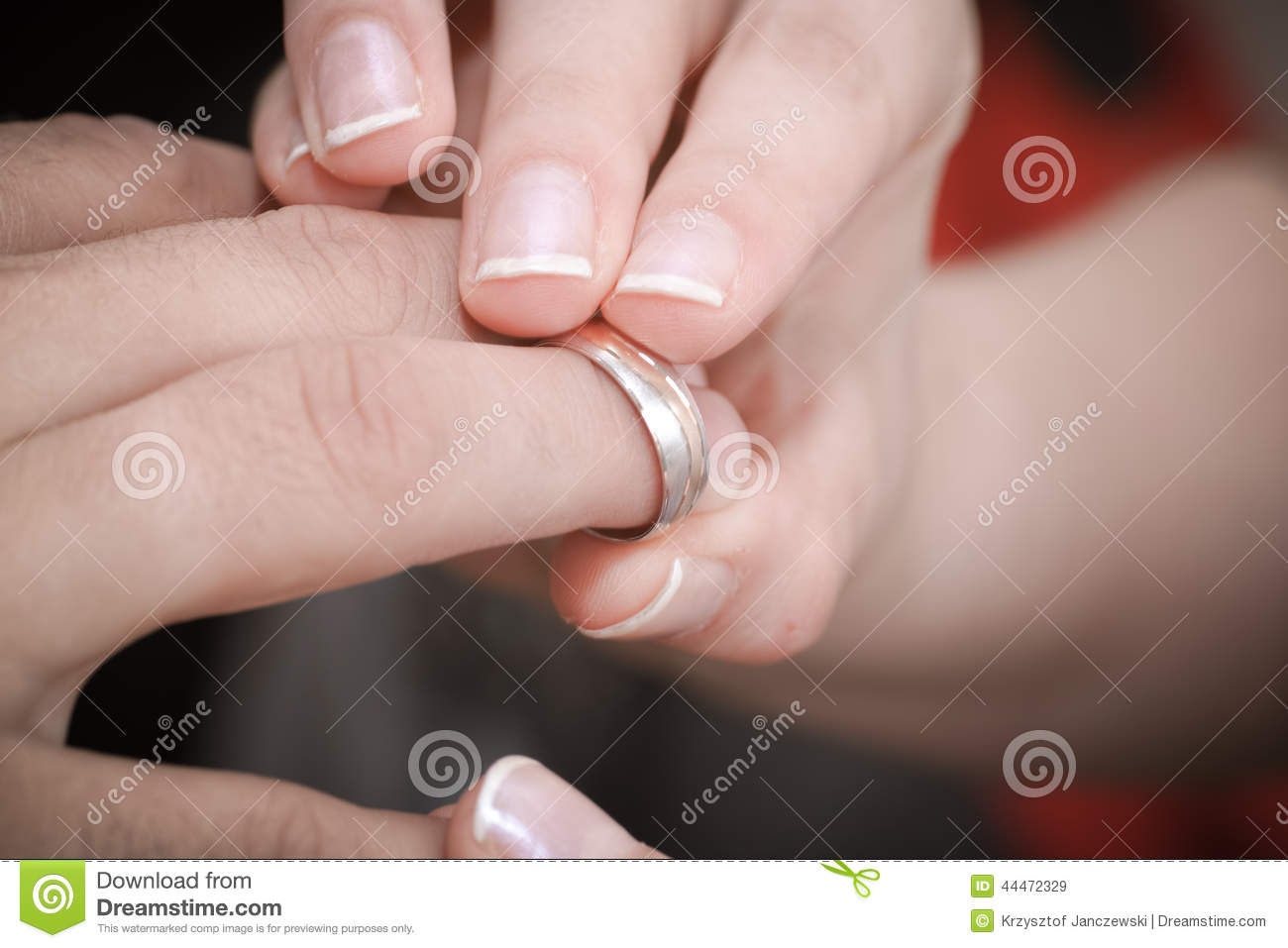 Wedding ring exchange. stock image. Image of close, hand - 44472329
