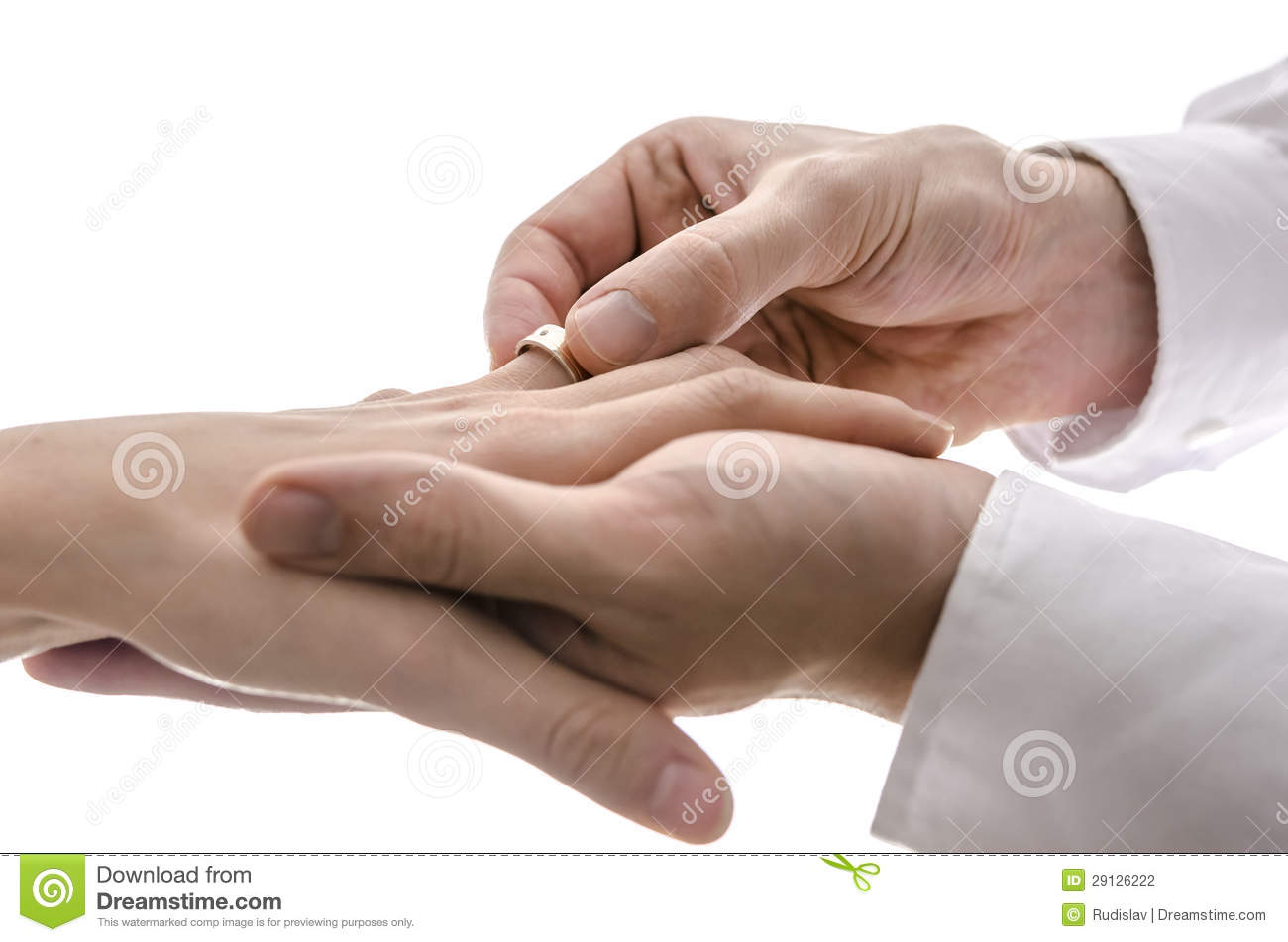 Wedding Ring On The Finger Of The Bride Stock Photography