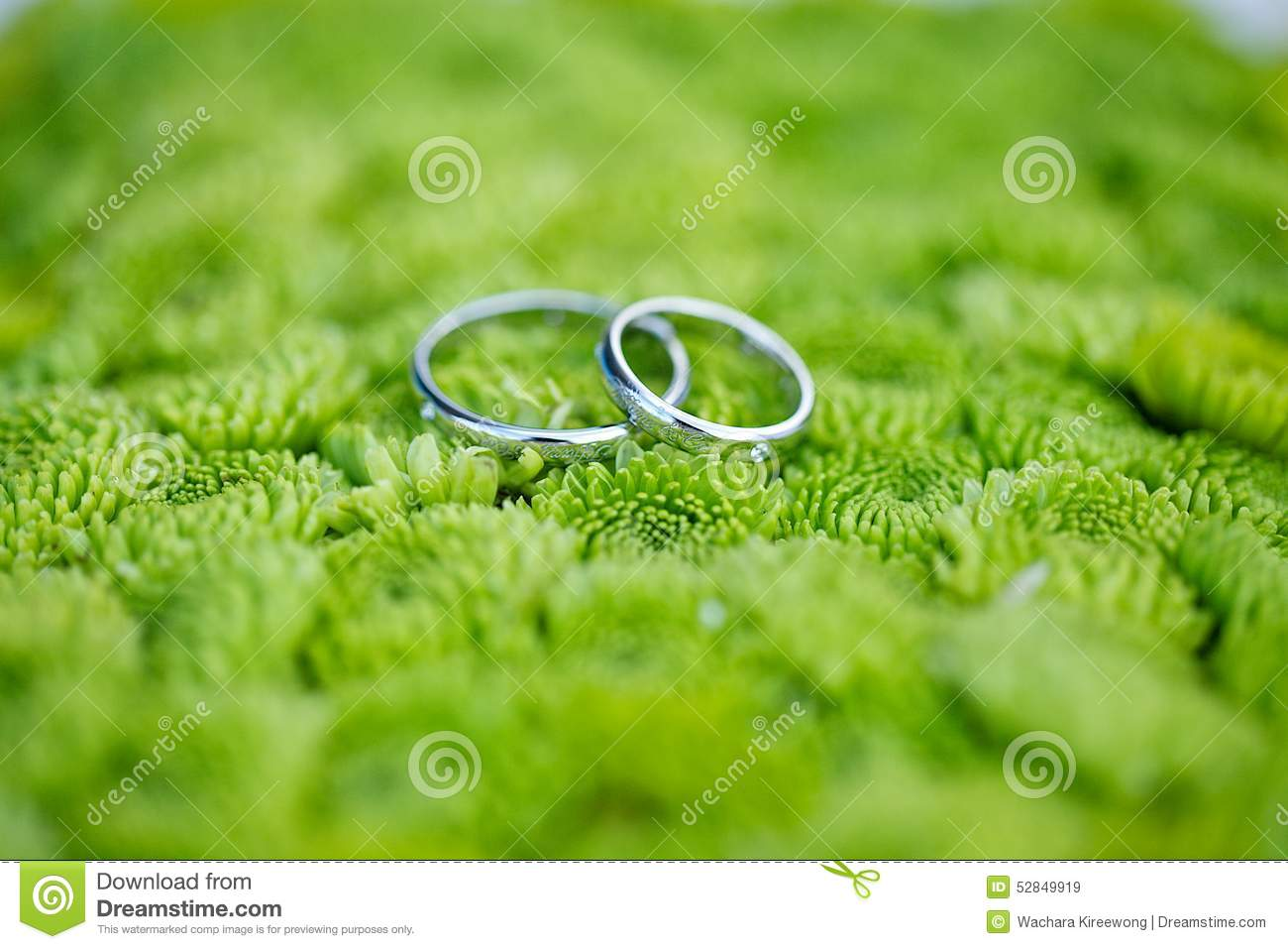 Wedding Ring On Green Flowers Background Stock Photo ...