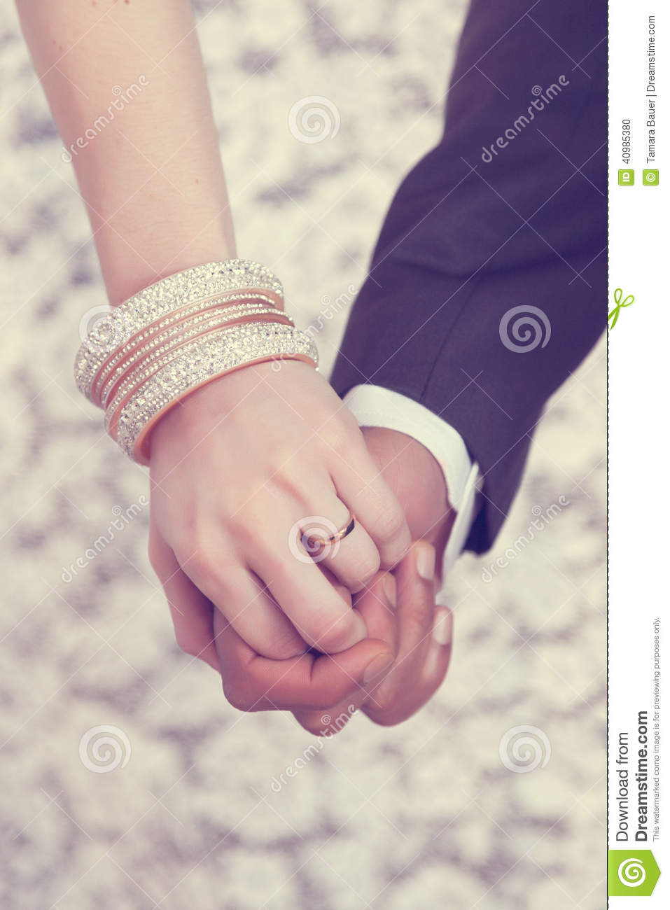 wedding ring on hand stock photo image 40985380