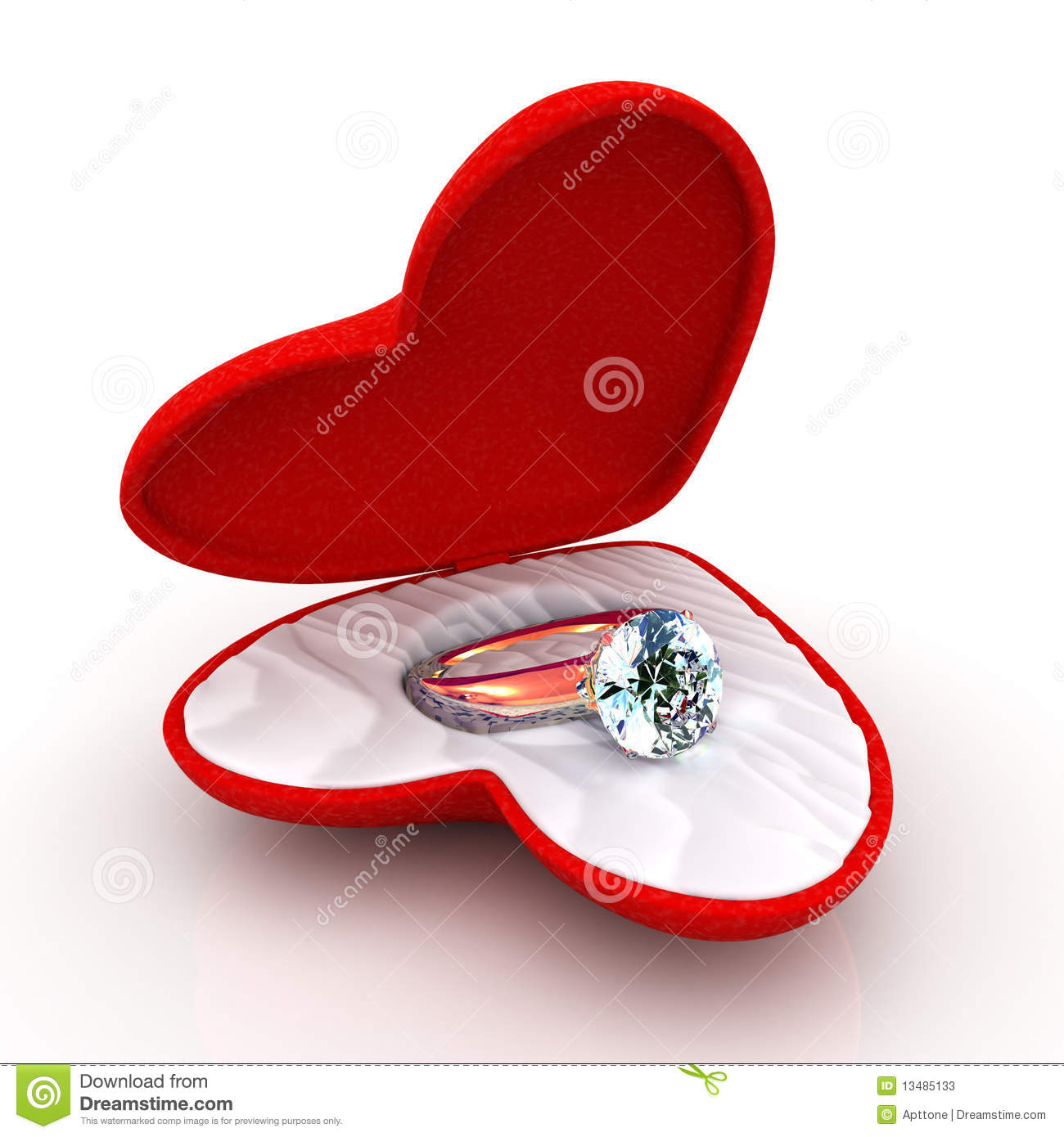 Wedding ring in heart shaped elegant box stock photos for Heart shaped engagement ring box