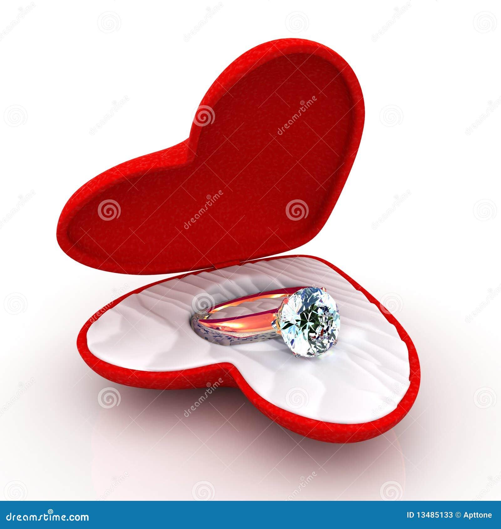 Wedding ring in heart shaped elegant box stock photos for Heart ring box