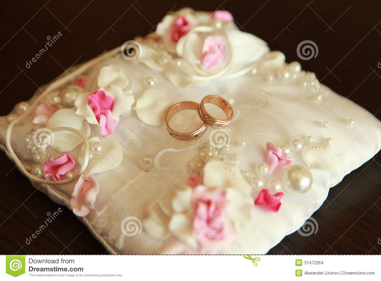 Wedding ring on the pillow stock photo Image of ceremony 31472264