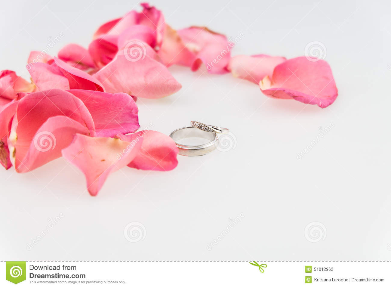 Wedding Ring With Pink Rose Petal On White Background Stock Photo