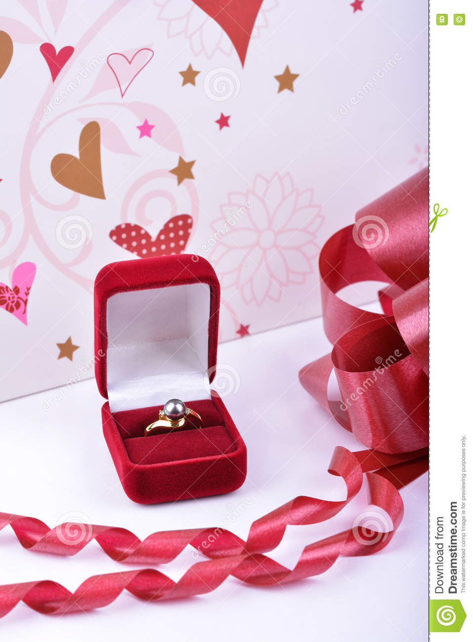 Wedding Ring In A Red Gift Box Stock Image - Image of beautiful ...