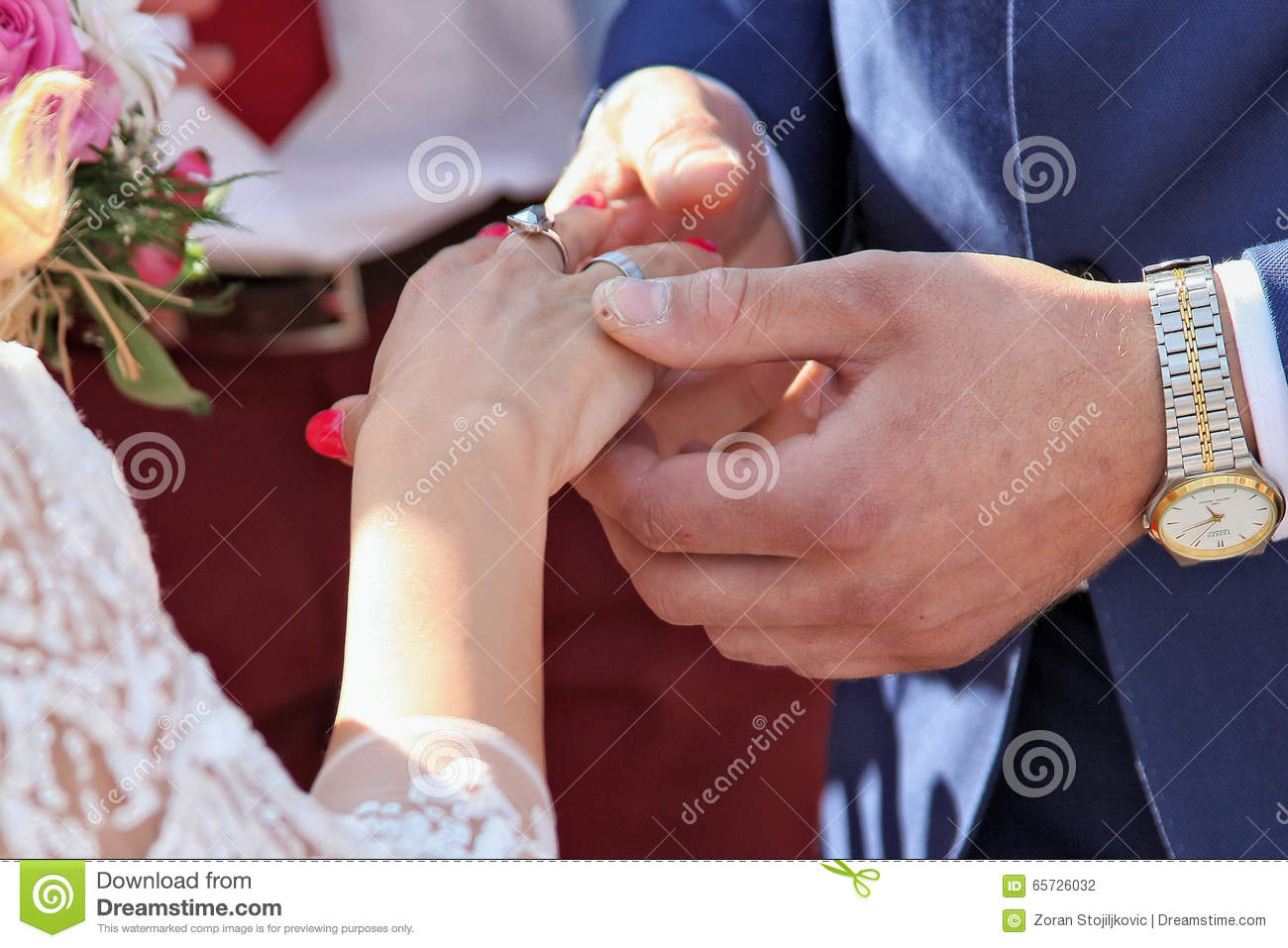 Solemn Moment Of The Wedding Actually When The Bride And Groom Give Gifts To Each Other Ring As A Symbol Of Loyalty