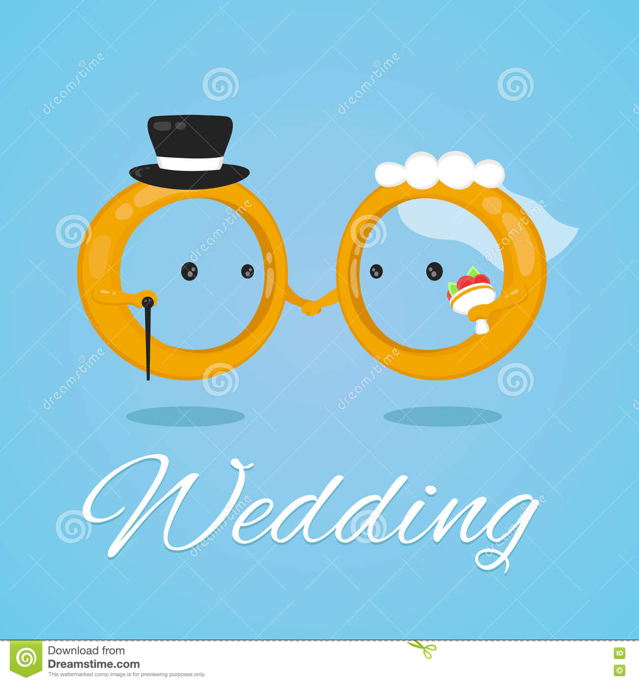 wedding ring vector flat design illustration character. bride and