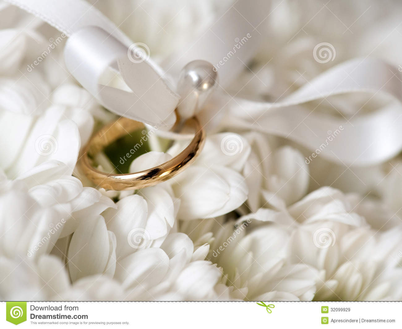 Wedding Ring With White Flowers