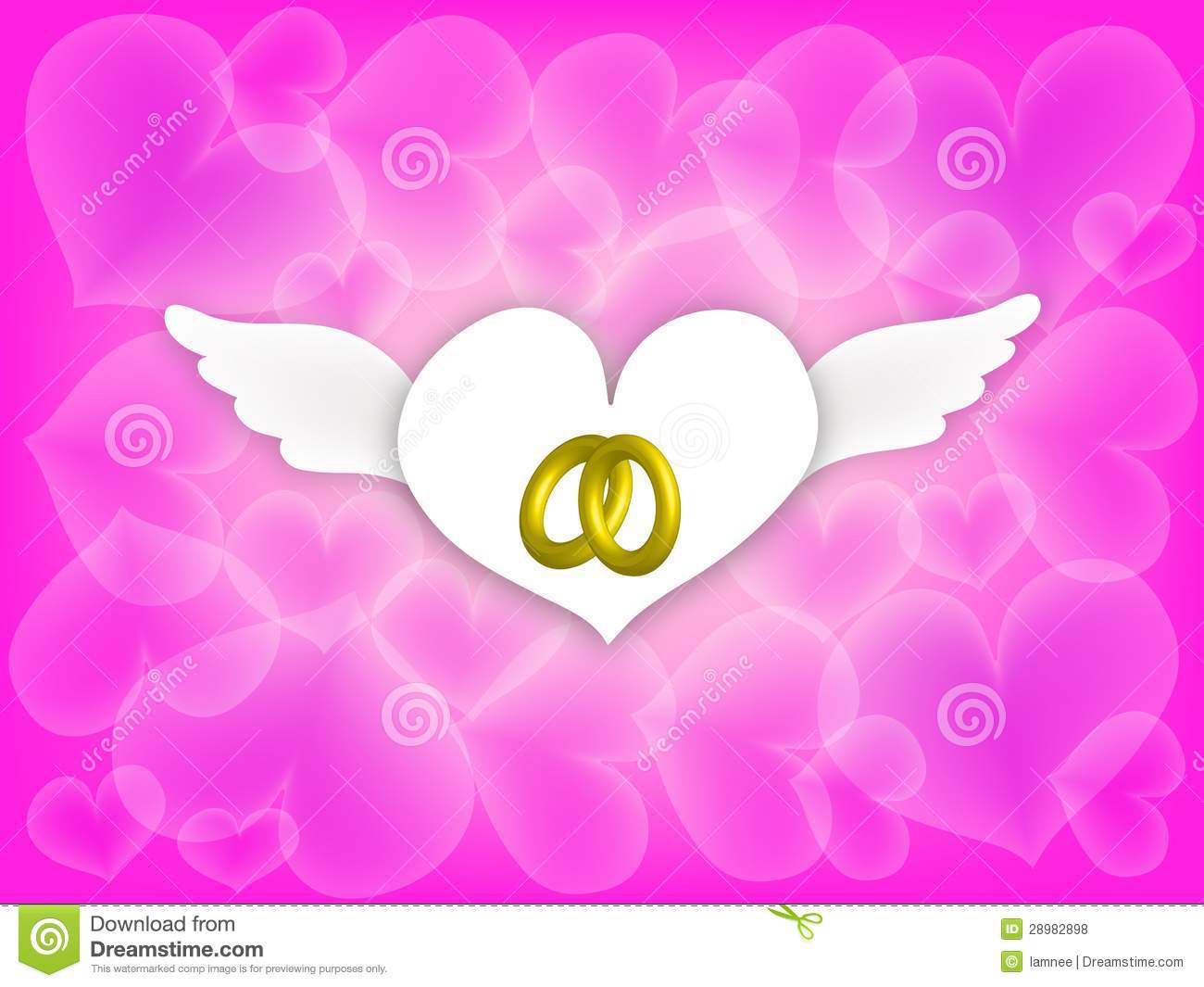 Wedding Rings In Angle Hearth On Pink Background Stock Illustration ...
