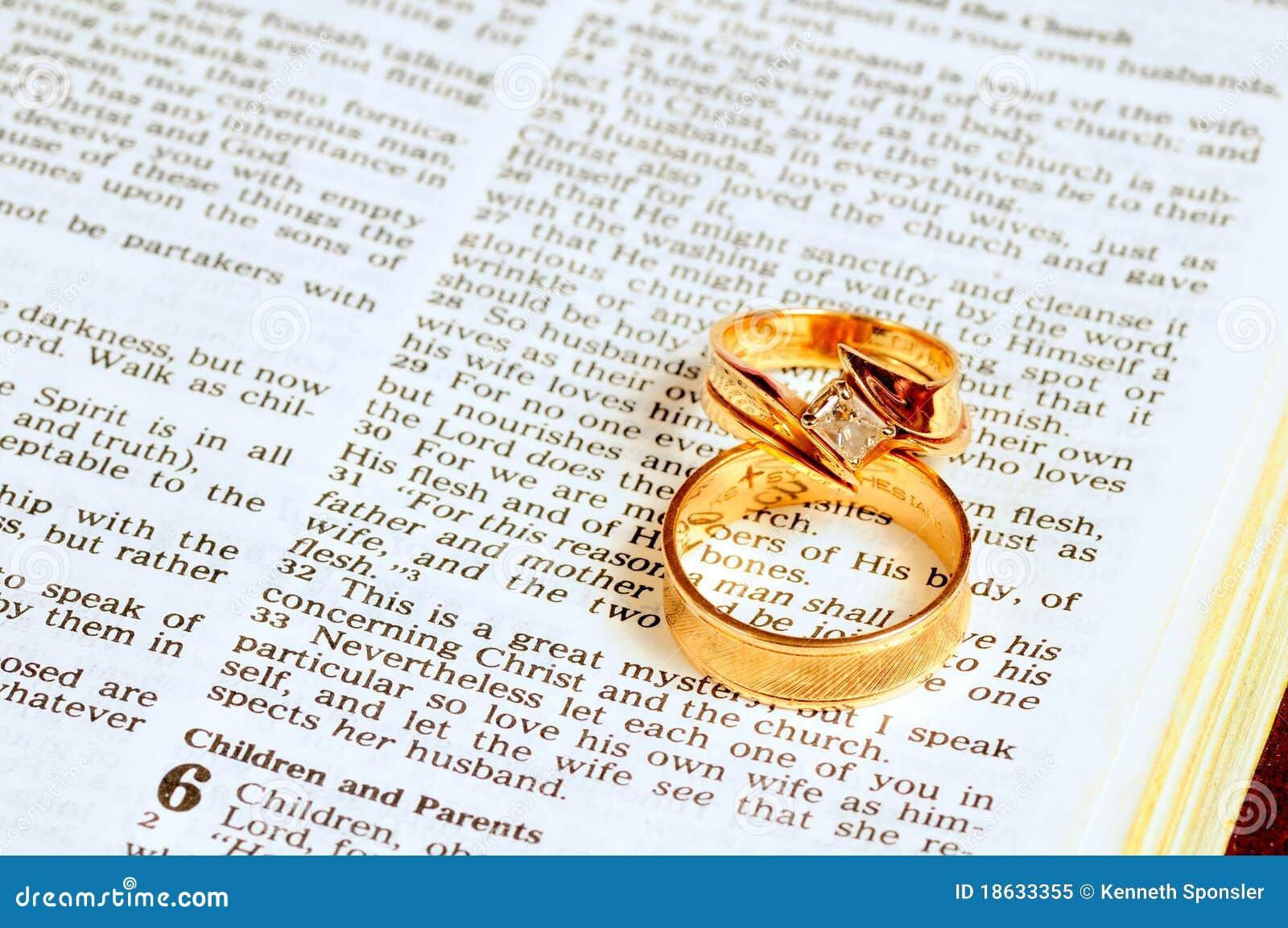 Wedding Rings On Bible Stock Image  Image Of Open  Passage