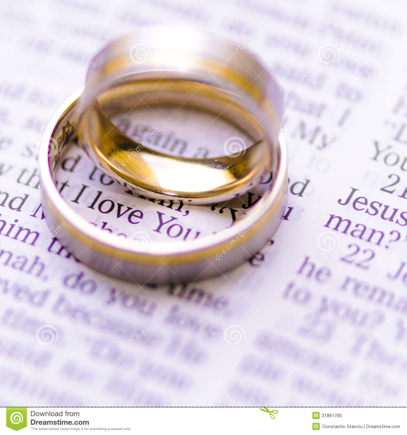 Wedding rings on a bible with i love you message royalty for Wedding ring meaning bible