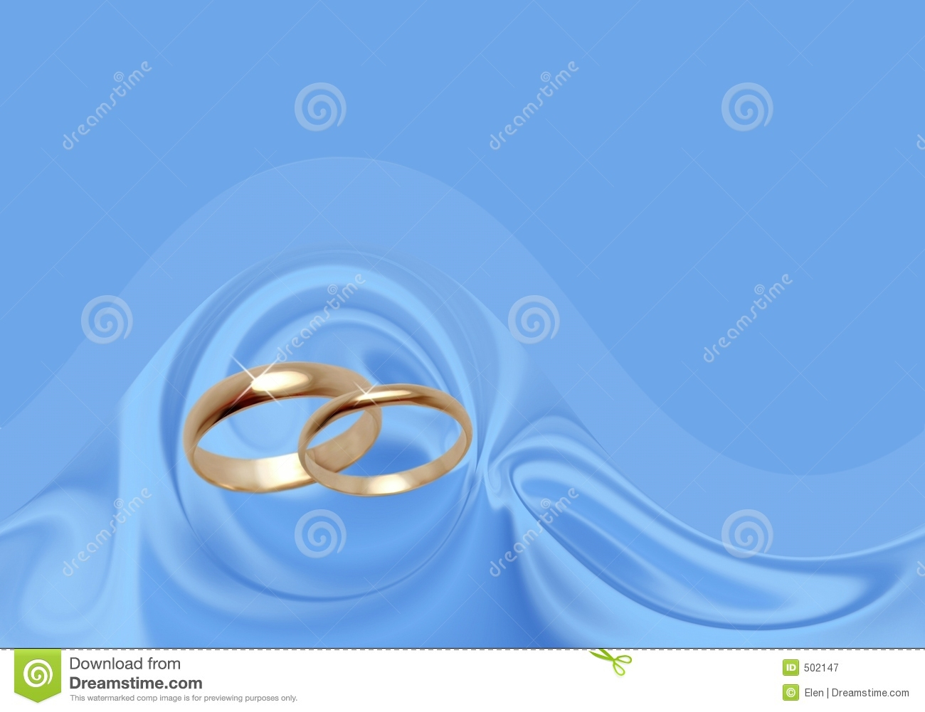 Wedding Rings On Blue Material. Royalty Free Stock ...
