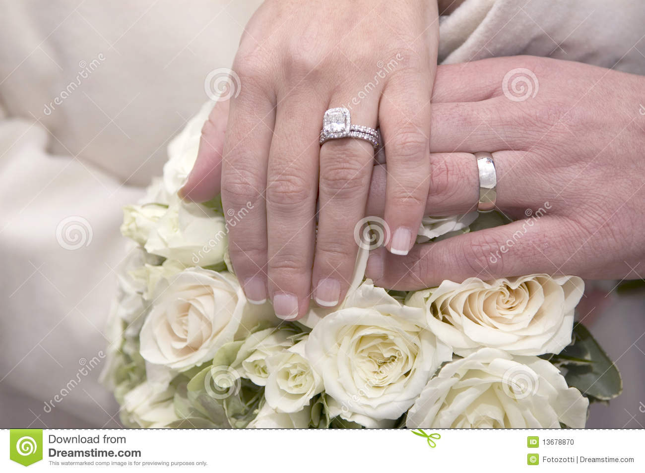 Wedding Rings Bouquet Stock Photo Image Of Manicure