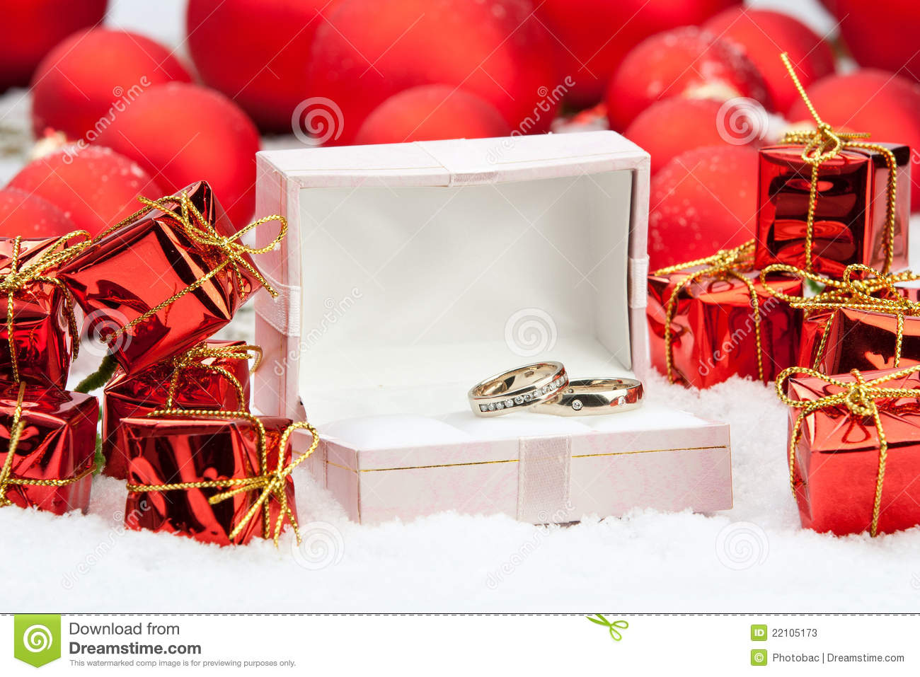 Wedding Rings Among Christmas Decorations Stock Photos