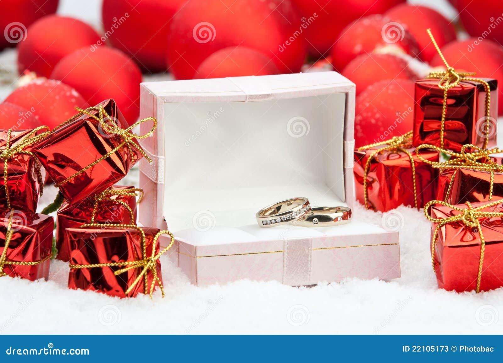 Wedding Rings Among Christmas Decorations Stock Photos
