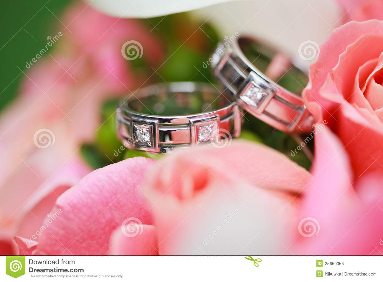 Wedding Rings On The Flowers Stock Photo - Image of relationship ...