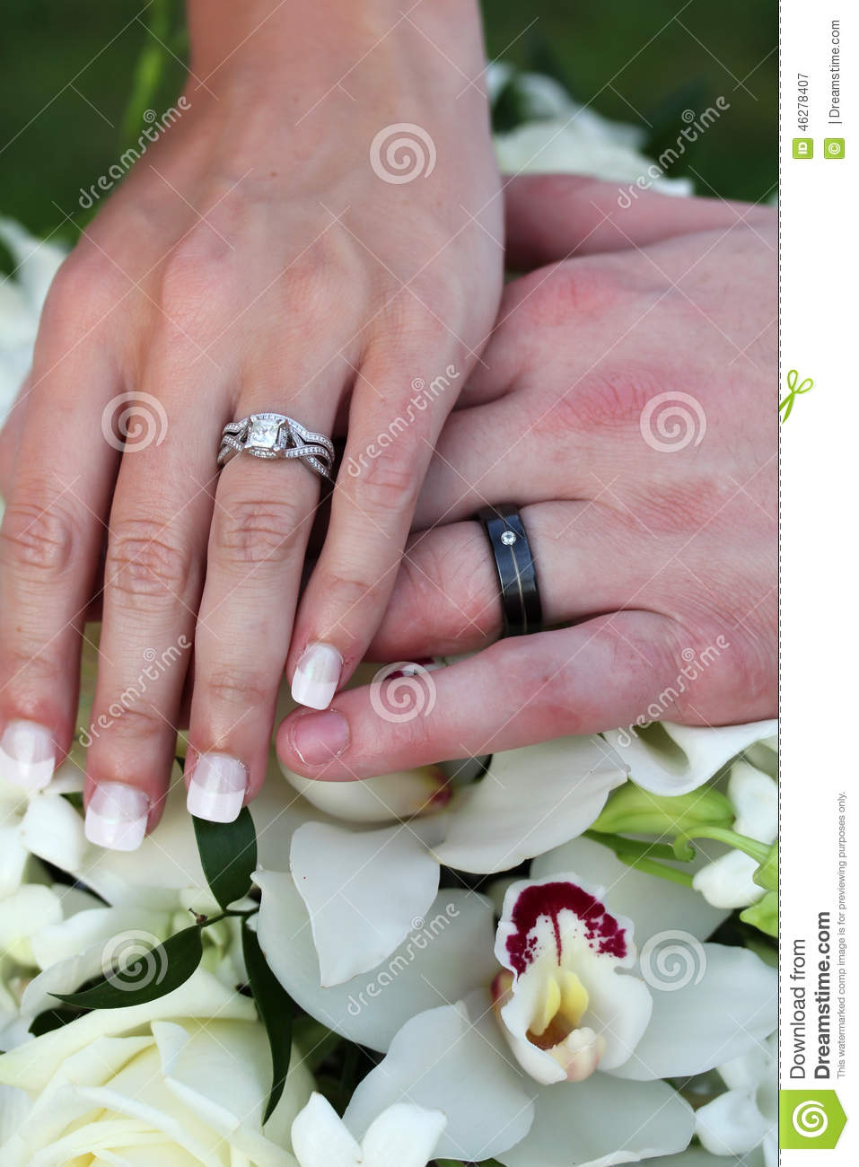 Wedding Rings & Flowers stock image. Image of bride, marriage - 46278407