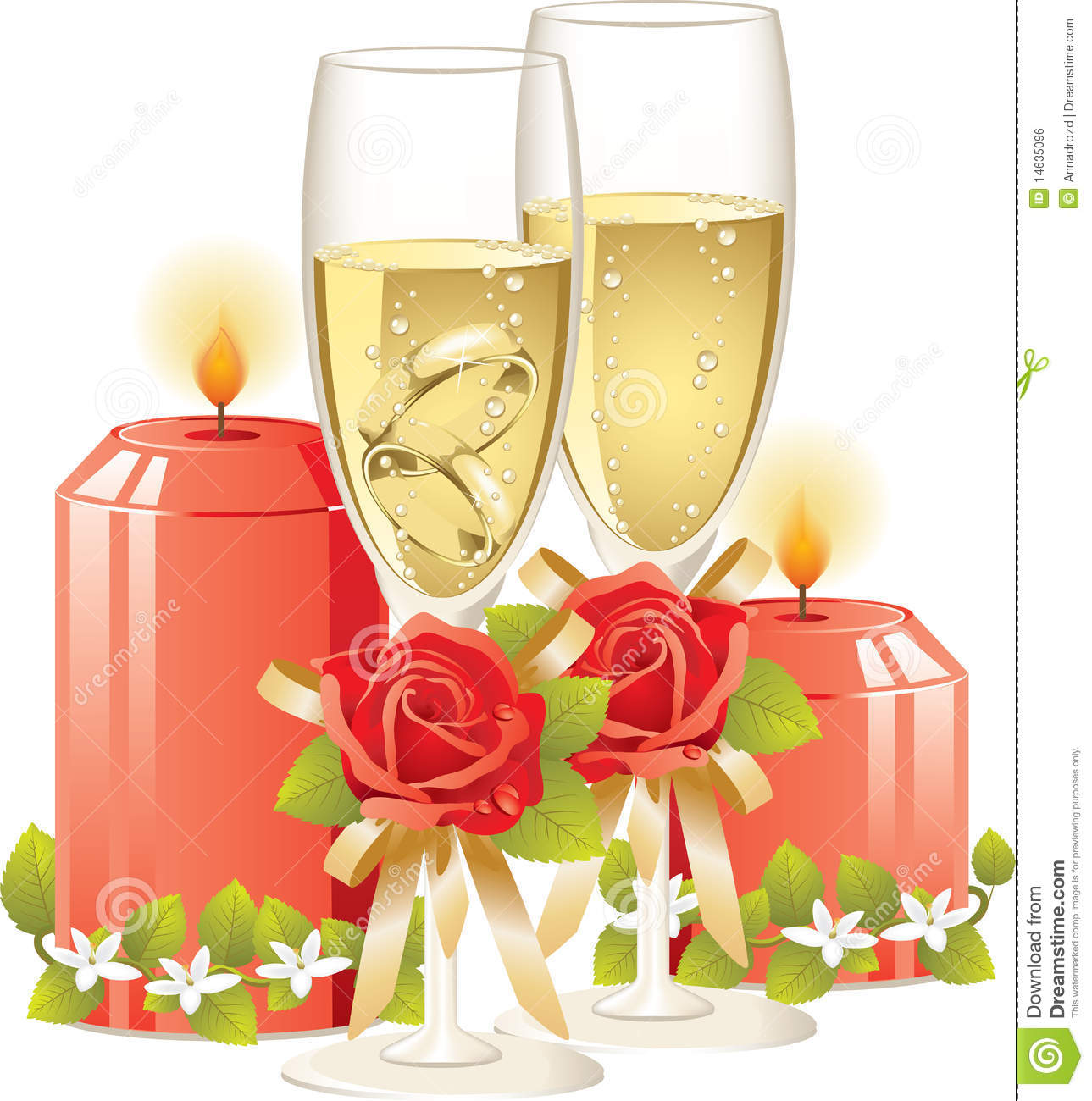 Wedding Rings In A Glass Of Champagne Stock Vector