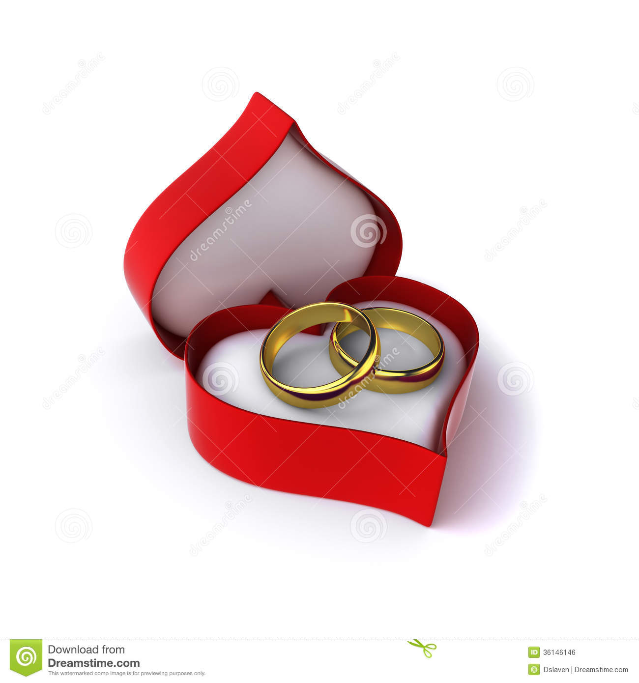 Wedding rings royalty free stock image image 36146146 for Heart shaped engagement ring box