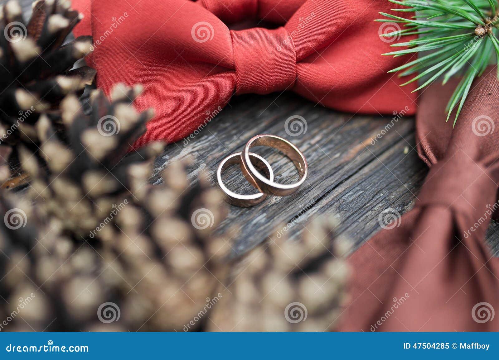 Wedding rings on the groom tie