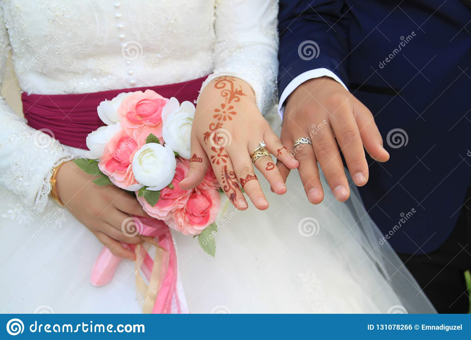 Bride groom hand in hand with rings
