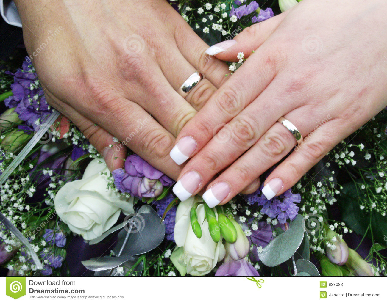 Wedding rings and hands 2 stock image Image of white marriage 638083