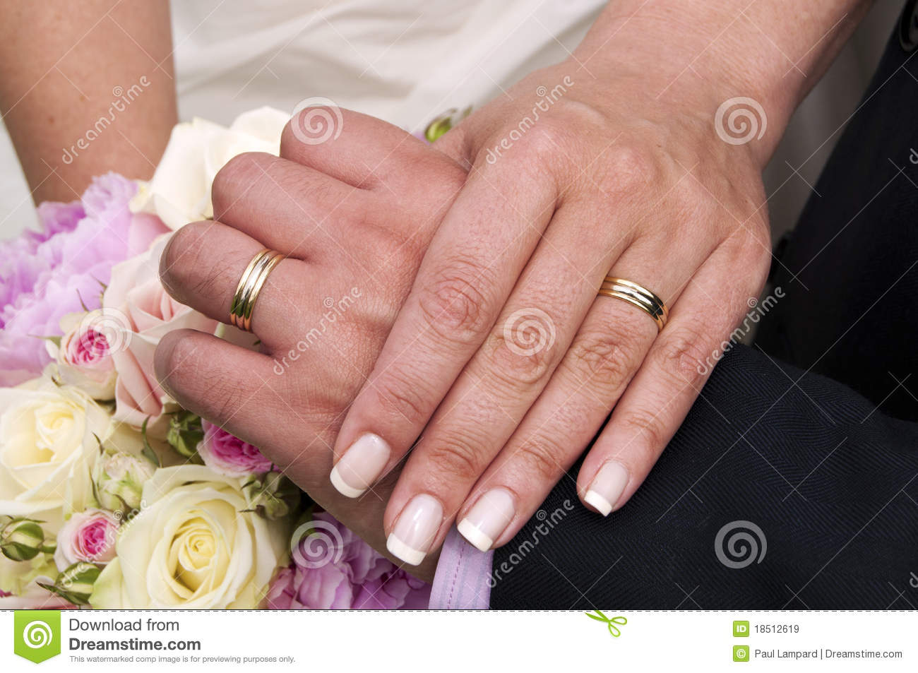 Wedding Rings, Hands And Bouquet Of Roses. Stock Image - Image of ...