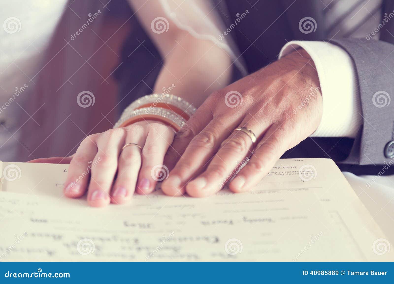 Wedding rings on hands stock image. Image of groom, rings - 40985889