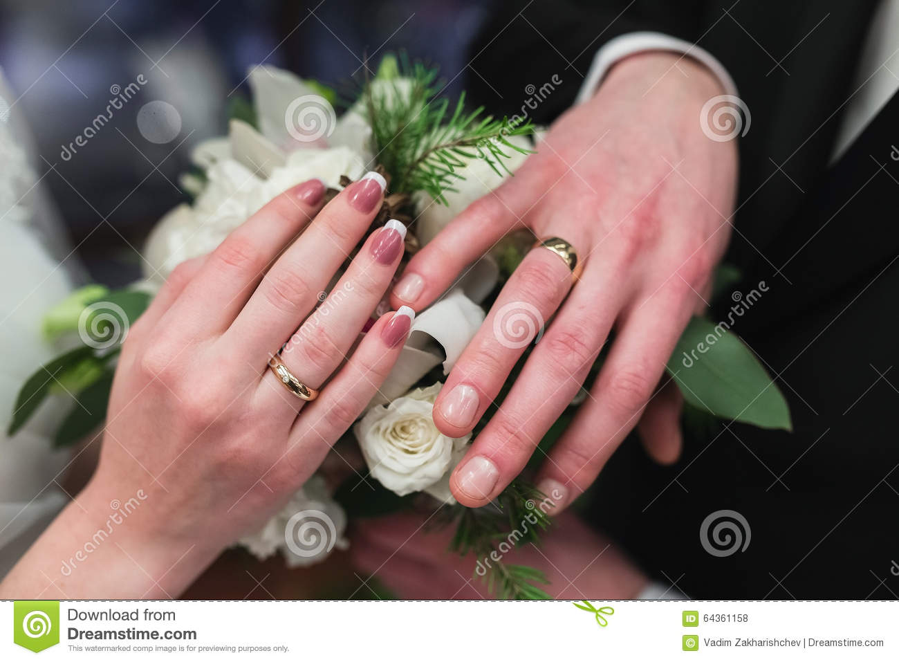 Wedding Rings On The Hands Of The Newlyweds. Stock Photo - Image of ...