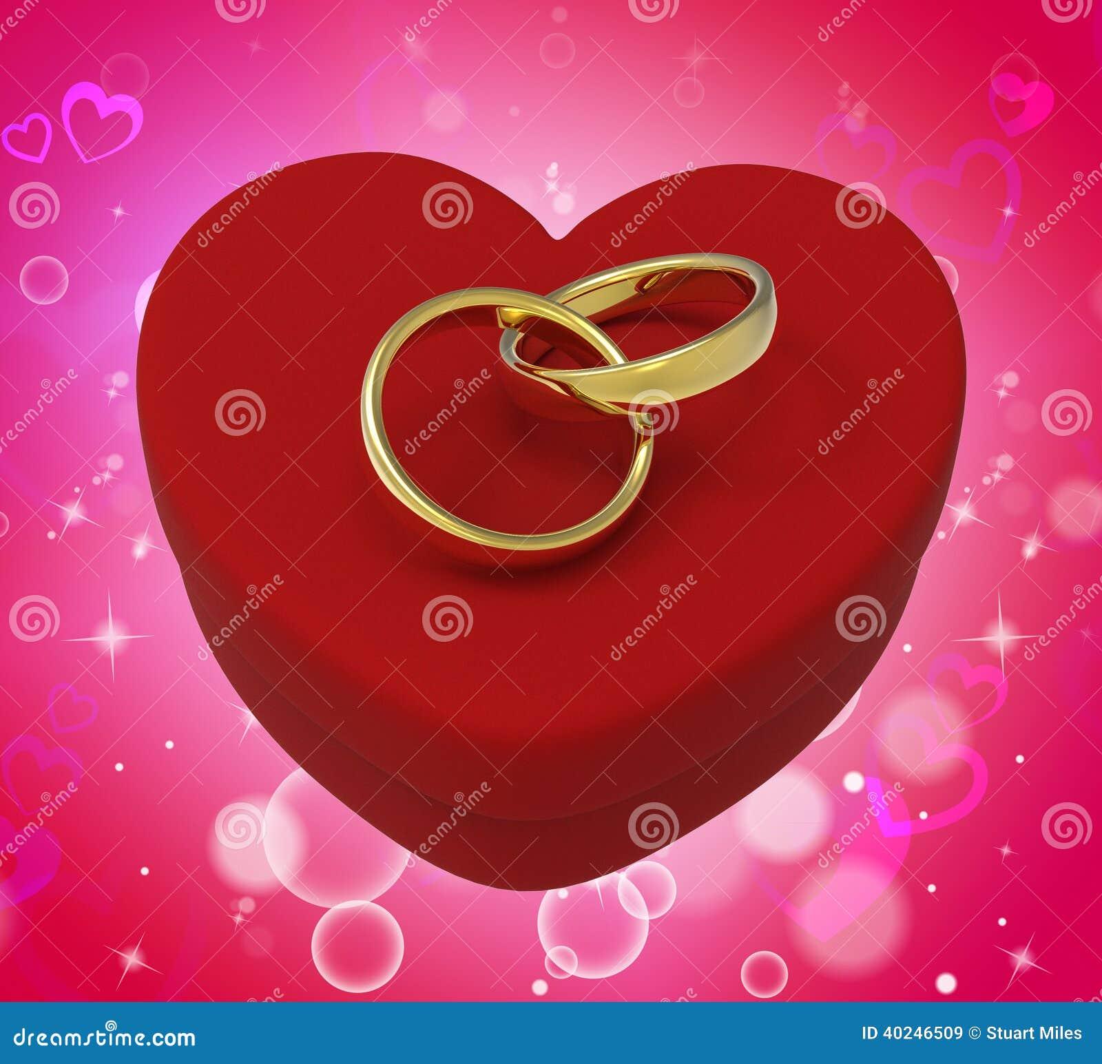 Wedding Rings On Heart Box Mean Romantic Stock ...