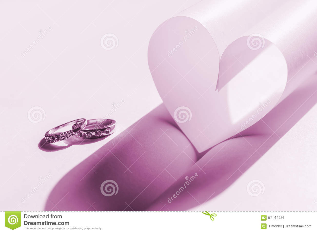 Wedding Rings And Heart. Concept Of Love Stock Illustration ...