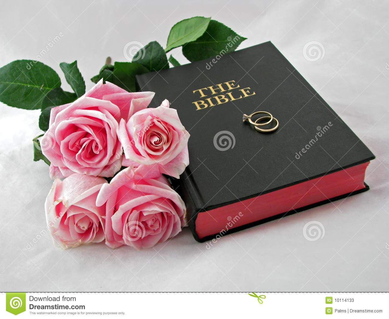 Pair Of Wedding Rings On Holy Bible With Bouquet Of Pink Roses ...